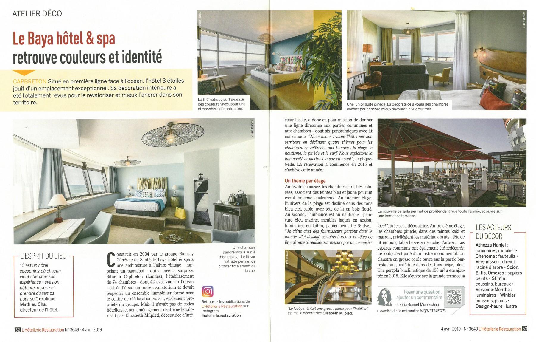 Architecture interieure Baya hotellerie restauration